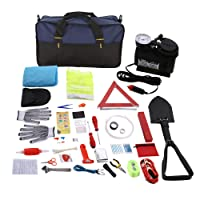 SAILNOVO Car Emergency Kit, Multifunctional Roadside Assistance 97-In-1 Auto Emergency Kit with Jumper Cables,Tow Rope,Triangle,Flashlight,Tire Pressure Gauges,Safety Hammer,etc