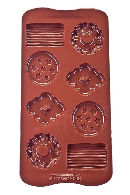 Silikomart 22 125 77 0065 Scg25 Moule Pour Chocolat Forme Biscuit 8 Cavites Silicone Marron