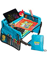 Kids Travel Tray - Portable Play Tray to Keep Baby, Toddler or Child Occupied During Travel In Stroller, Car and Airplane - Lap Table for Snacks, Tablet, and Activities - Solid Organizer with Free Bag