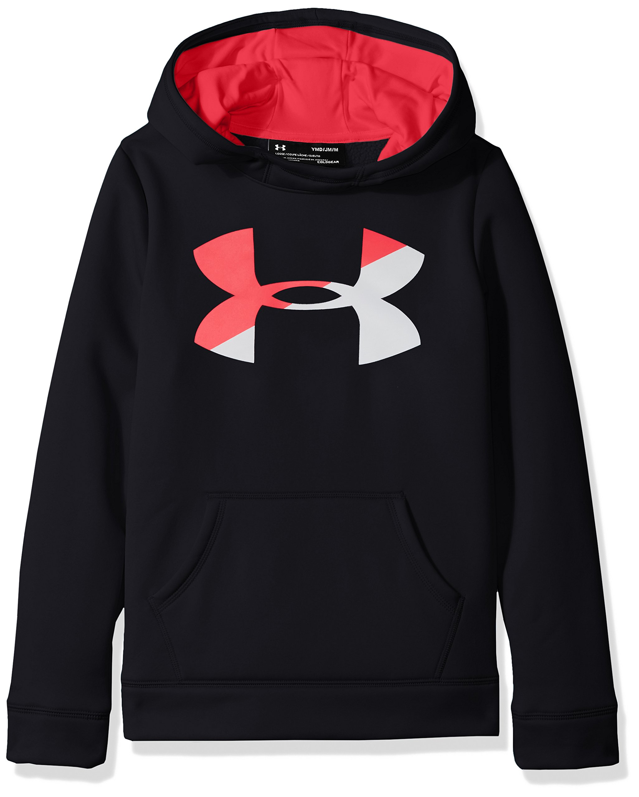 Under Armour Girls' Armour Fleece Big Logo Hoodie,Black (001)/Penta Pink, Youth X-Small