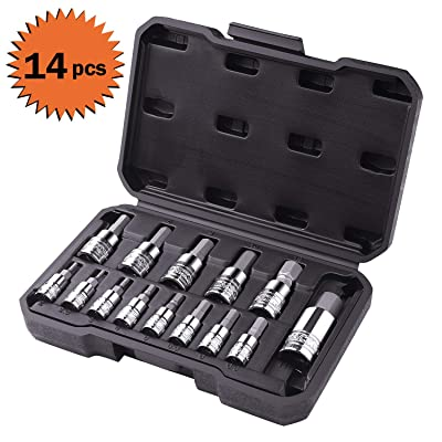 TACKLIFE 14-Piece Hex Bit Socket Set, Metric, S2 Steel + CR-V - HBS1A