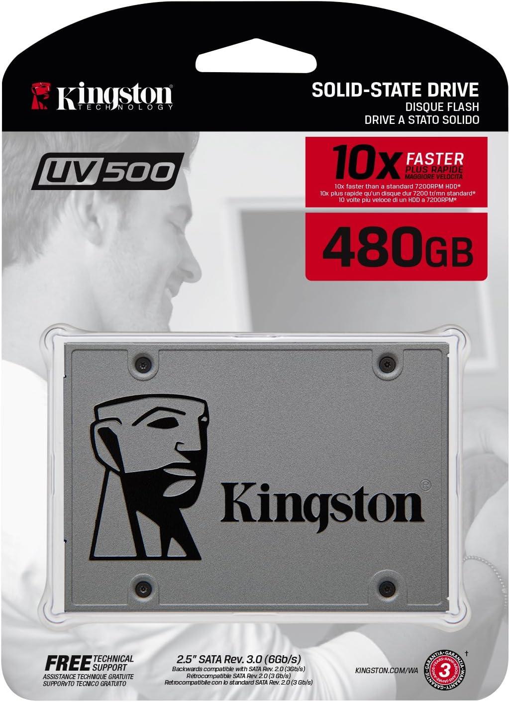 Kingston SUV500/480G - Unidad de Disco Duro SSD, 480 GB, SATA3, 2.5
