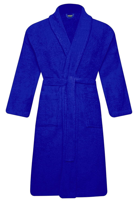QCS Luxury Mens & Ladies 100% Cotton Terry Toweling Adult Shawl Collar Bath Robe Dressing Gown Bathrobe with Belt