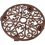 Esschert Design Large Cast Iron Plant Trolley - Round