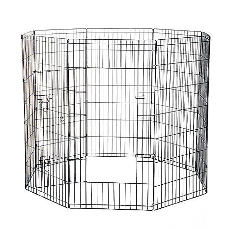 PawHut-Celda Para Perros Gatos de Cachorros Roedores Valla Red Jaula 8 Piezas 122 x
