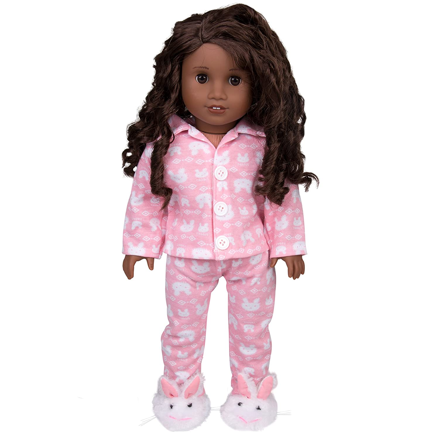 3 Pcs Outfit Including Bunny Shirt Dress Along Dolly Bunny Doll Pajamas for 18 Dolls and Bunny Slippers Ride Along Dolly Pants