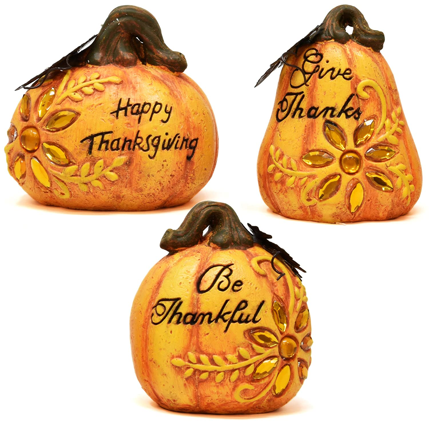 Gift Boutique Fall Harvest Pumpkin Decorations 3 Piece Set Inspirational Thanksgiving and Autumn Tabletop Home Decor Rustic, Country Decorative Props Kitchen Living Room