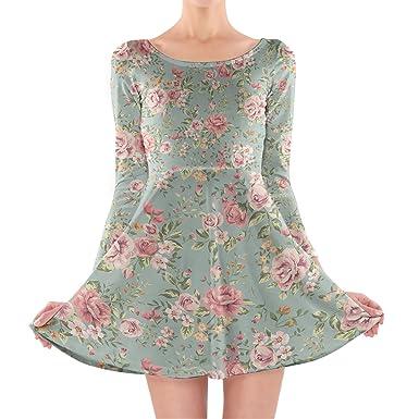 fb4dc7762154 Pastel Floral Wallpaper Longsleeve Skater Dress at Amazon Women s ...