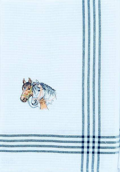 6 pieza bordado paño de cocina color blanco diseño de caballos caballo Set 70 x 50