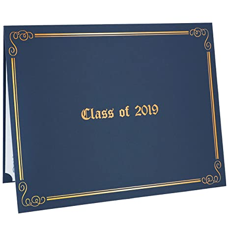 Class Of 2019 Diploma Covers 12 Pack Graduation Awards Certificates Holder 11 X 8 5 Inches Blue With Gold