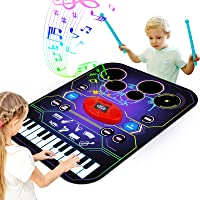 Apsung 2-in-1 Music Lam Playmat with Drum & Keyboard Piano Comb Play Mat Music Dance Mat for Child, Early Educational…