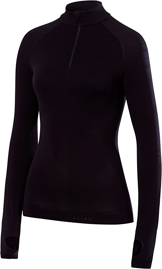 Falke Warm Zip Shirt Tight Fit Women Camisa de Manga Larga, Mujer