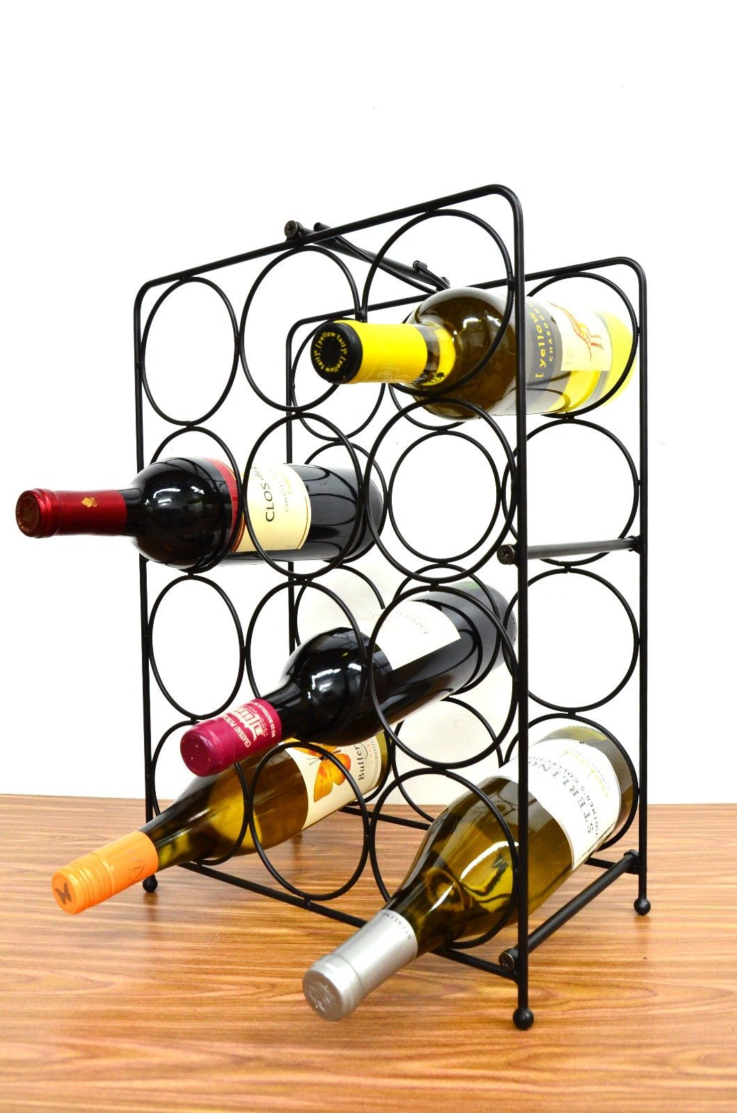 Superiore Livello Napoli 12 Bottle Free Standing Wine Rack, Wine Holder Free Standing Metal Rack for Floor Modern Scroll Art Design Wine Bottle Storage Rack Perfect Floor Standing Wine Storage Rack