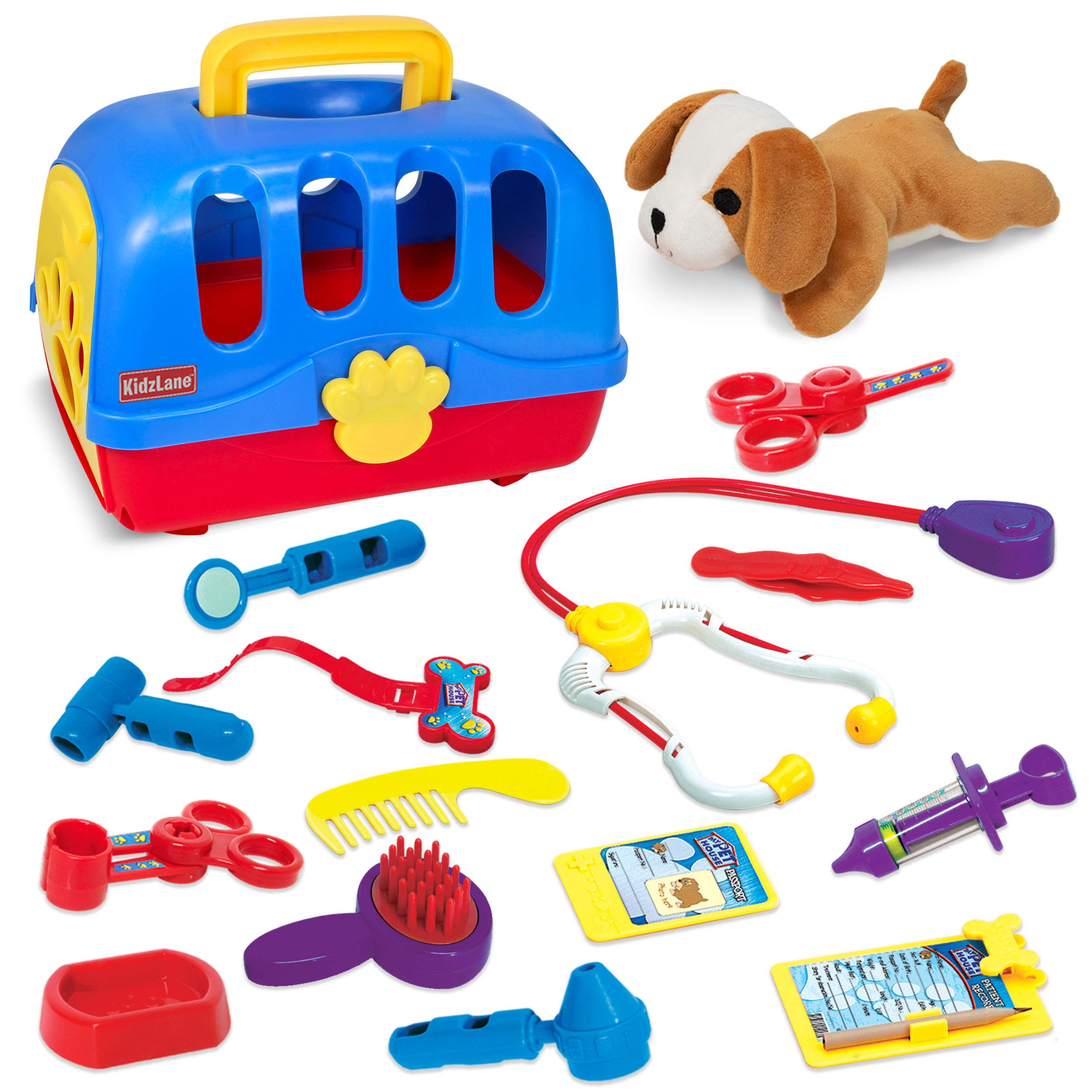 Kidzlane Pretend Veterinarian Doctor Kit for Toddlers and Kids - Realistic Pet Vet Play Set with 3-in-1 Carrier, Exam Table & Storage Case