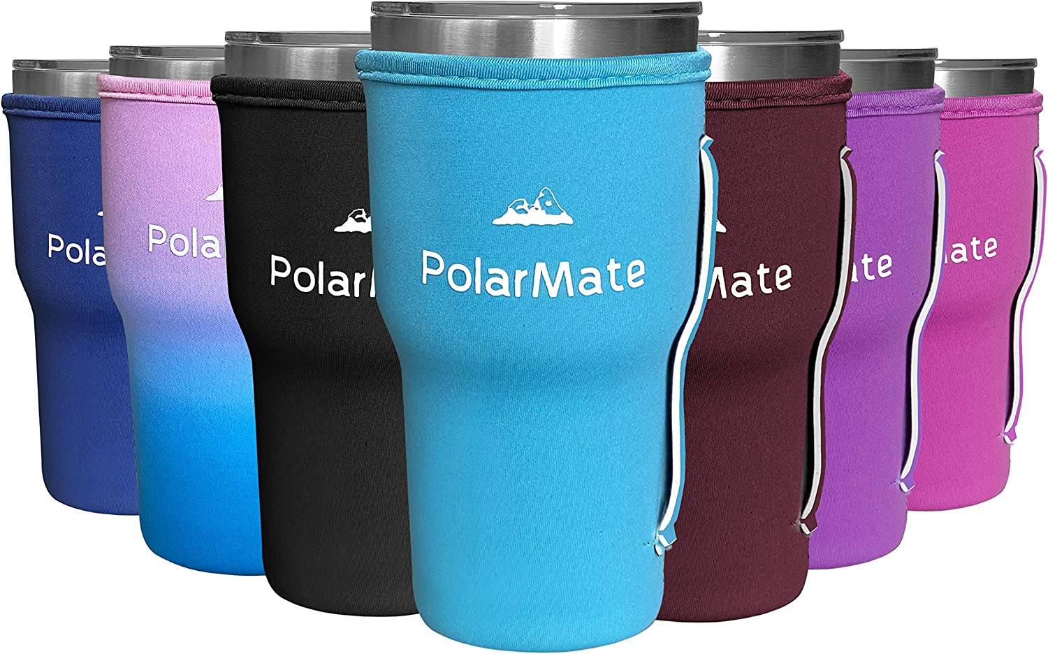 1 Pack Neoprene Tumbler Sleeves with Strap Handle | Insulator Tumblers Sleeve for Cold and Hot Drinks Beverages | Neoprene Tumbler Holder (Light Blue, 30 oz)