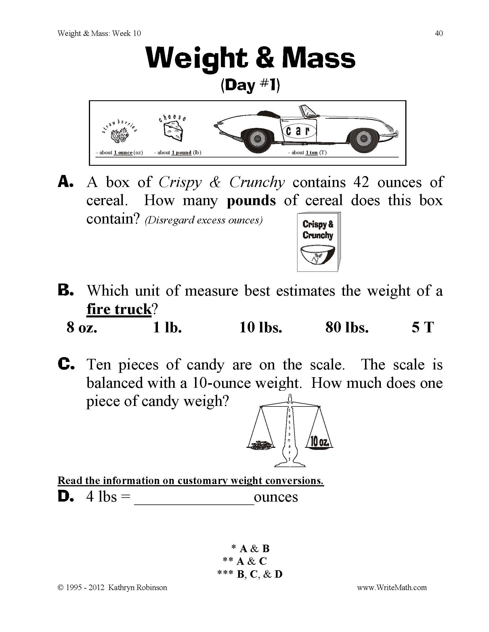 Teaching Weight Mass 3rd 4th 5th Grade Math Worksheets Just – Mass and Weight Worksheet