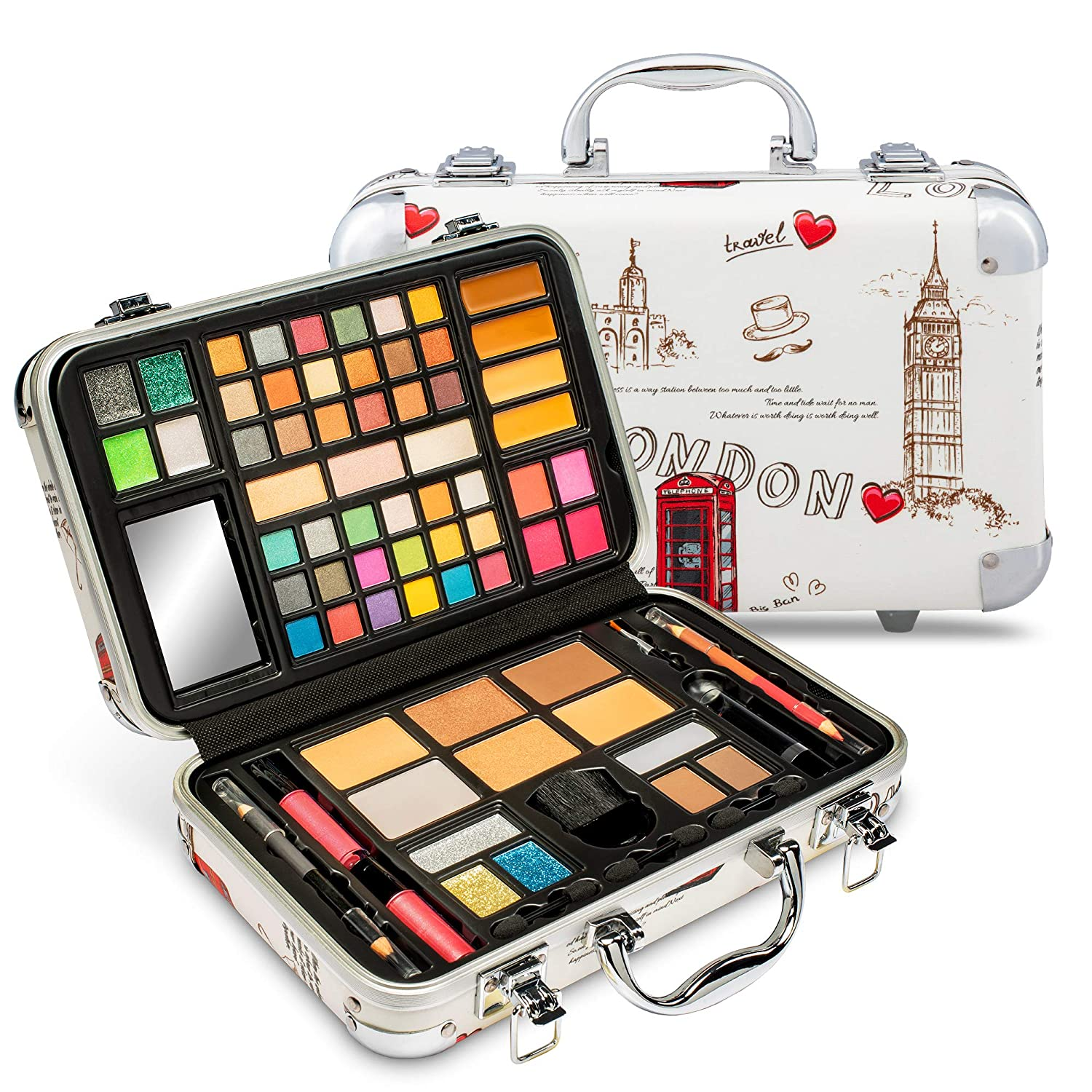 Vokai Makeup Kit Gift Set - London Travel Case 41 Eye Shadows 4 Blushes 5 Bronzers 7 Body Glitters 1 Lip Liner Pencil 1 Eye Liner Pencil 2 Lip Gloss Wands 1 Lipstick 5 Concealers 1 Brow Wax 1 Mirror