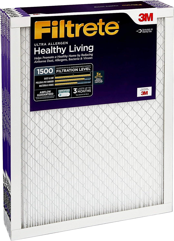 MPR 1500 Healthy Living Ultra Allergen AC Furnace Air Filter 6-Pack Renewed Filtrete 12x36x1