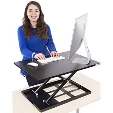 Stand Steady Standing Desk X-Elite Standing Desk | X-Elite Pro Version, Instantly Convert Any Desk into a Sit/Stand up Desk, Height-Adjustable, Fully Assembled Desk Converter (Black)