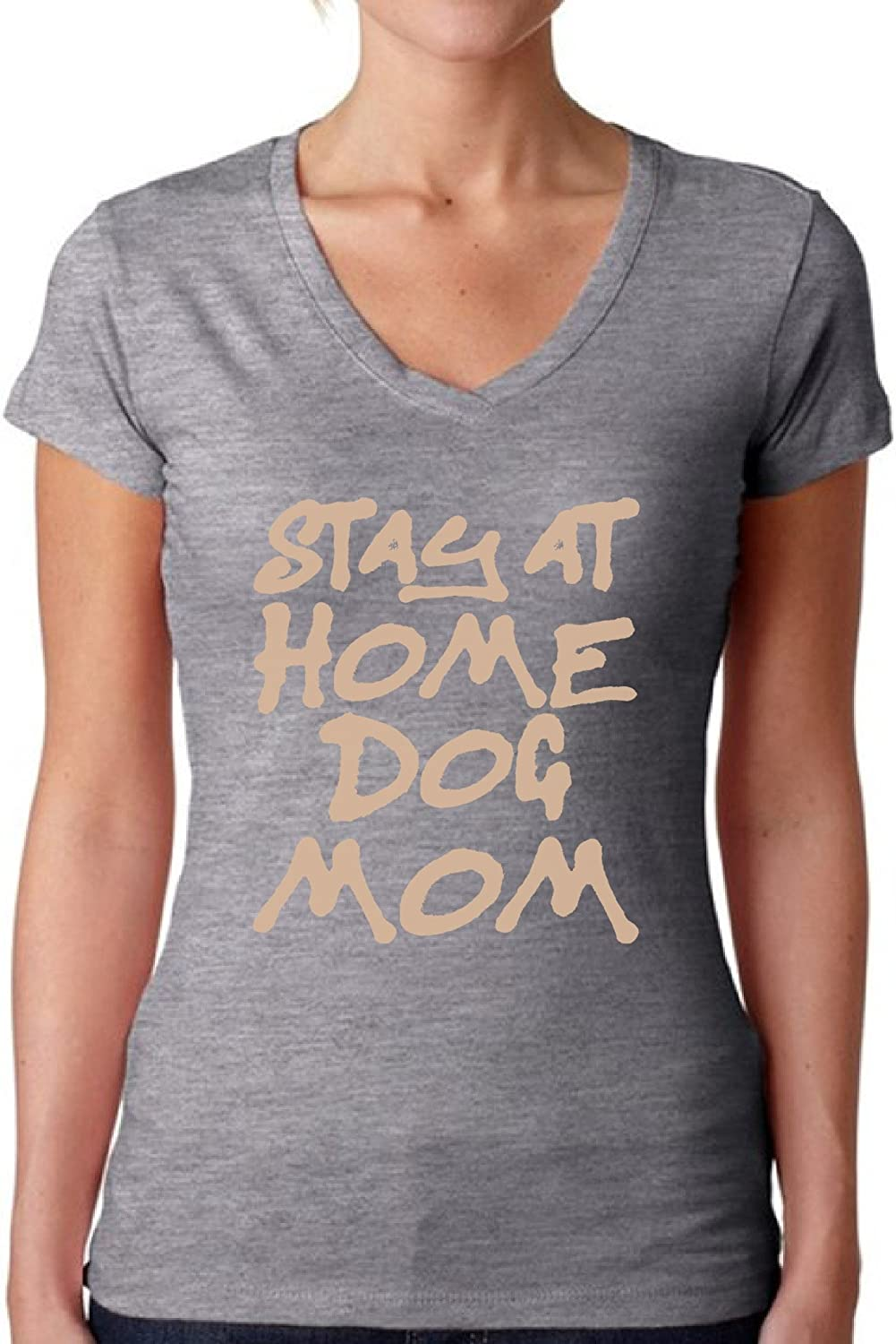 Awkward Styles Women's Stay at Home Dog Mom Graphic V-Neck T Shirt Tops for Dog Lovers