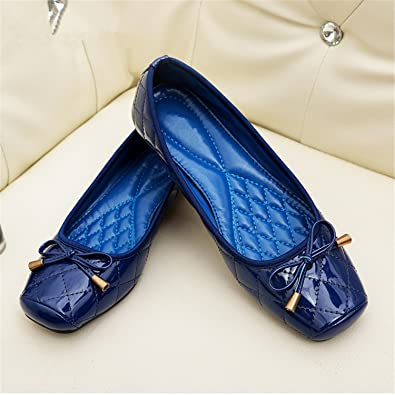 f17c2b21c Image Unavailable. Image not available for. Color: Beverly Stewart New  Arrival Patent Leather Flat Women Ballet Flats Shoes Women Plus Size 41  Black