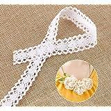 15M Nastro Merletto Cotone Pizzo stile vintage bianco pizzo floreale bordo taglio nastro per artigianato, abbigliamento e accessori da sposa decorazione DIY