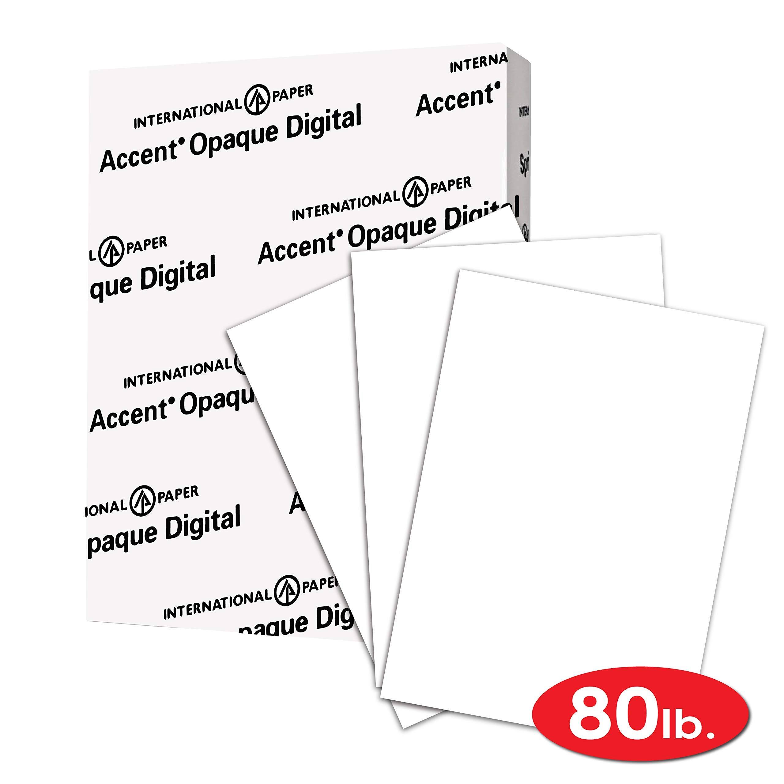 Accent Opaque Thick Cardstock Paper, White Paper, 80lb Cover, 216 gsm, Letetr Size, 8.5 x 11 Paper, 97 Bright, 1 Ream / 250 Sheets, Super Smooth, Heavy Card Stock (121947R) (Renewed)