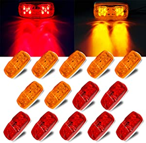 LivTee 14Pcs 12V Rectangular Trailer Side Marker LED Light Double Bullseye Clearance for Indicators Surface Mount RV Camper Trucks, Red/Amber