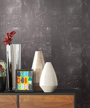 Genial Tapete Metalloptik In Anthrazit | Schöne Moderne Tapete Für Ihr Wohnzimmer  | Inklusive Der Newroom