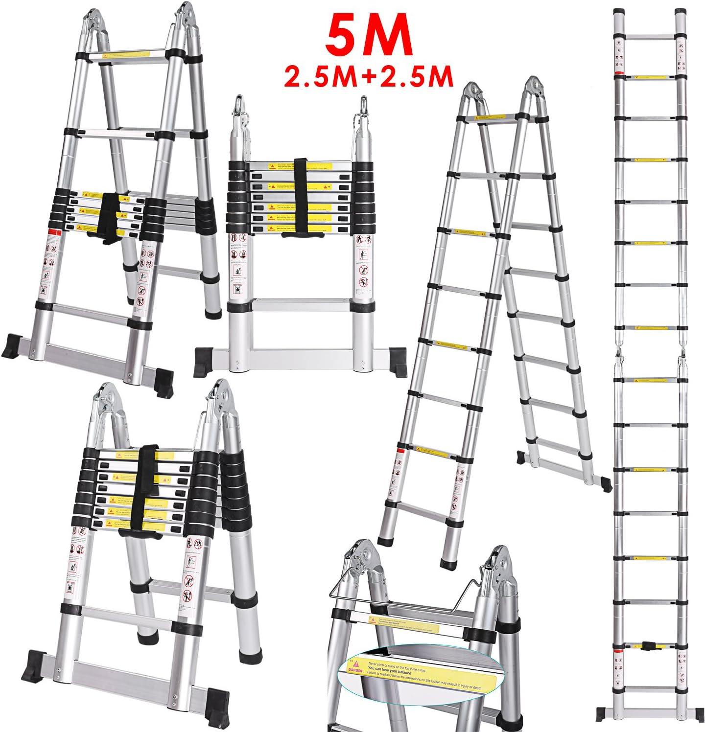 5 M 2,5 + 2,5 /échelle multi-usages en aluminium de qualit/é sup/érieure . /échelle pliante antid/érapante Escabeau t/élescopique 5 m Charge maximale : 150 kg