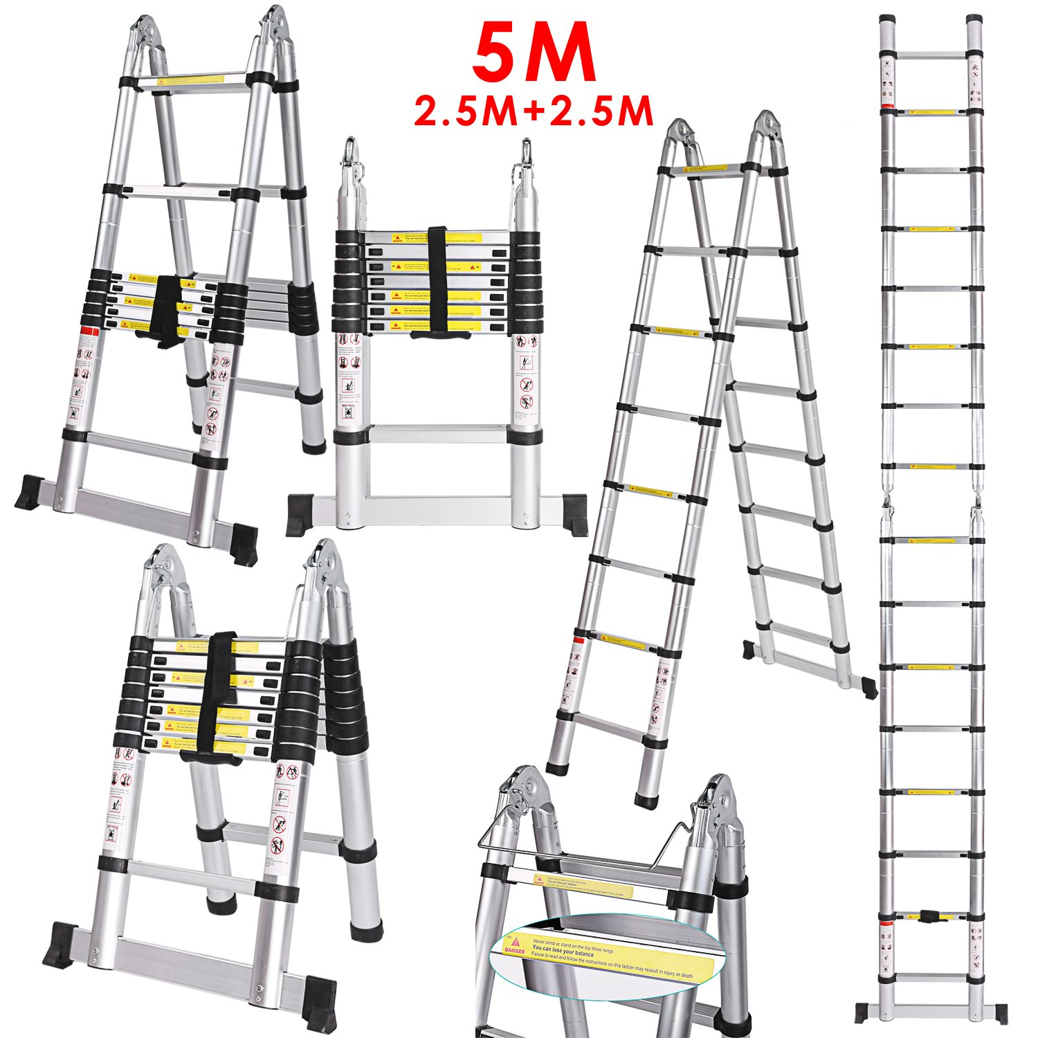 Busyall 5M Telescopic Ladder Aluminum Telescopic Ladder Tall Multi Purpose Heavy Duty Max 330 lbs (16.4FT)