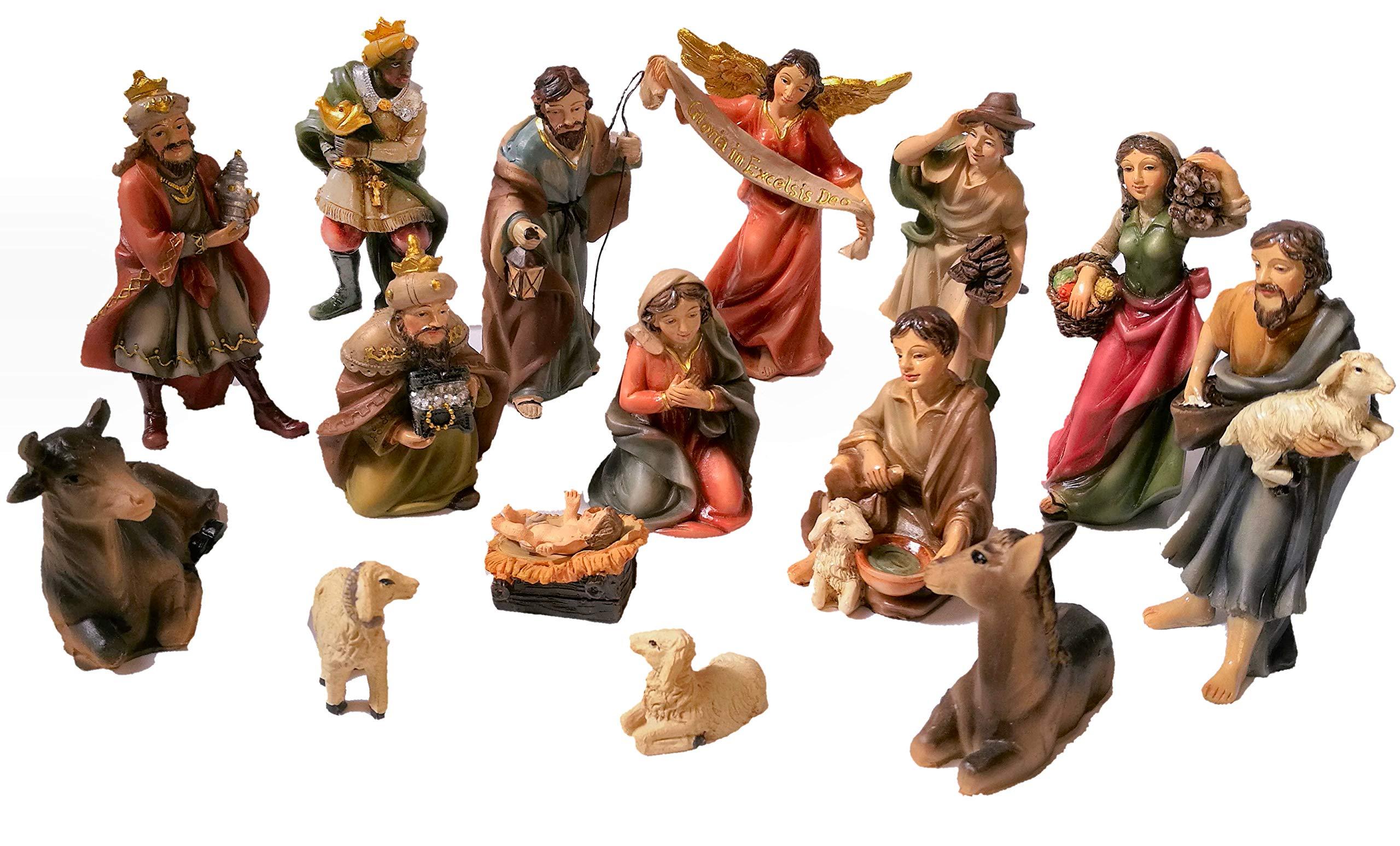 Faithful Treasure 15-Piece Nativity Figurine Set. Hand-Painted Christmas Nativity Scene, 4'' Tall