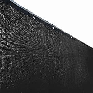 ALEKO PLK0550BLK Fence Privacy Screen Outdoor Backyard Fencing Windscreen Shade Cover Mesh Fabric with Grommets 5 x 50 Feet Black
