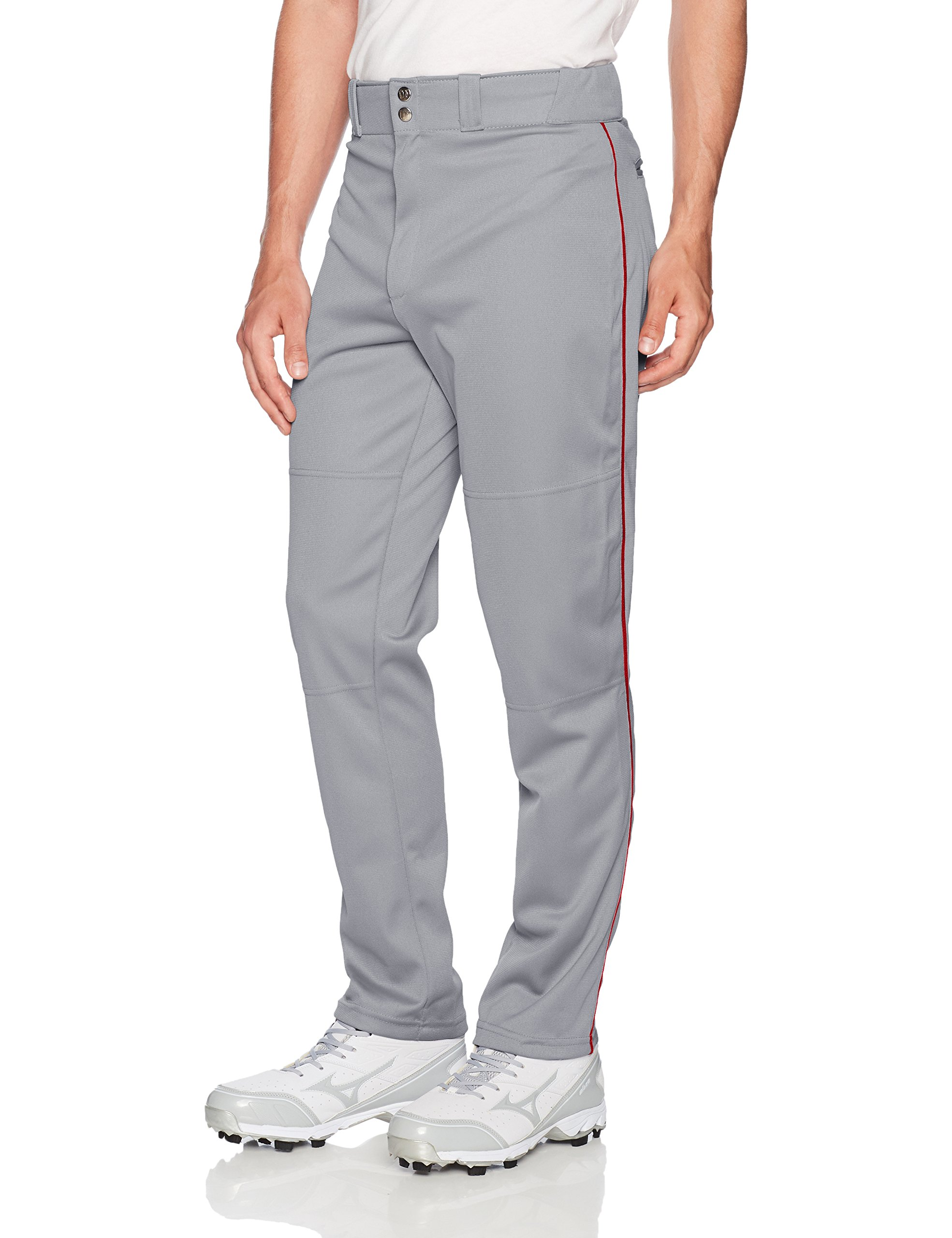 Wilson Men's Classic Relaxed Fit Piped Baseball Pant, Grey/Scarlet, X-Large by Wilson