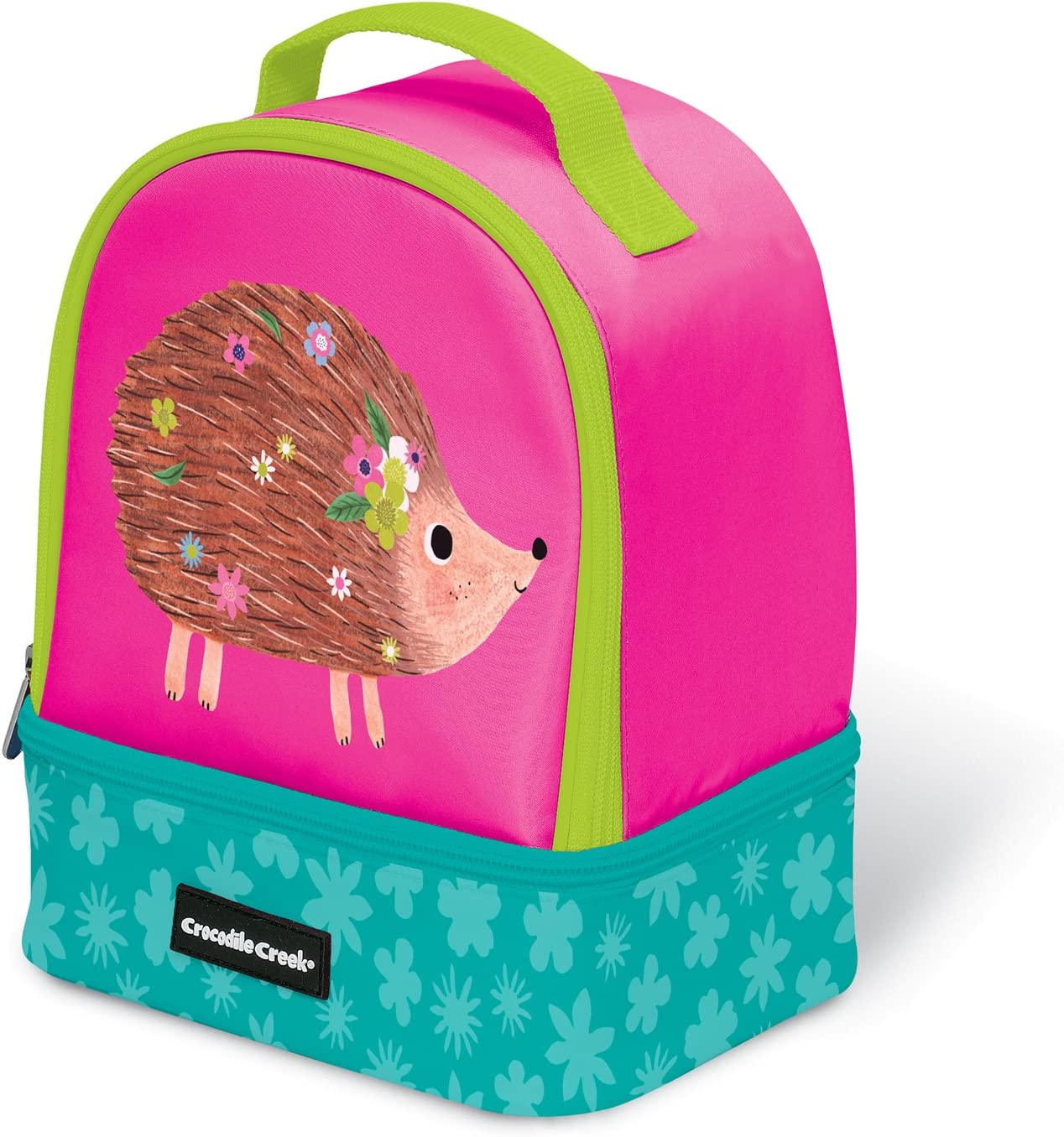 Crocodile Creek Eco Pink Hedgehog Two Compartment Kids' Lunchbox Insulated Lunch Box with Handle, 9.5&Quot