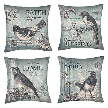 Vintage Spring Birds Throw Pillow Case Cushion Cover Easter Home Decorative Cotton Linen 18quot X