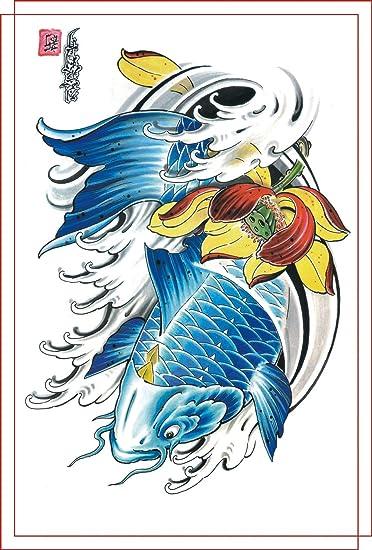 Amazon.com : Dragon, Fish, Skull, Lotus, Mountain Tattoo Flash A3 ...