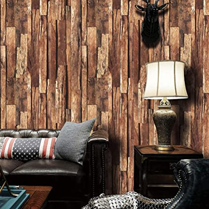 9101 Distressed Wood Plank Wallpaper Rollsfaux Wooden Wall Paper Kitchen Bedroom Living Room Cafe Wall Decoration 208in328ft