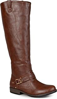 25ddfedf14c Journee Collection Womens Regular Sized and Wide-Calf Ankle-Strap  Square-Buckle Riding