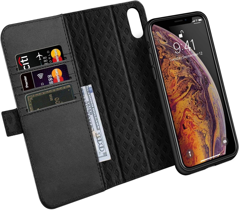 ZOVER Cover iPhone XS Max, Custodia iPhone XS Max, Cover in Pelle Portafoglio con la Funzione Auto Sleep/Wake, Supporta la Ricarica Wireless - Nero