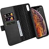 ZOVER iPhone XS ケース iPhone X ケース 手帳型 取り外しな財布型 本革ケース ワイヤレス充電対応 車載ホルダー対応 両面マグネット式磁気吸着 アイフォンXS ケース アイフォンX 全面保護カバー スタンド機能 横開き カード収納 ギフトボックス(5.8インチ用 ブラック)Black