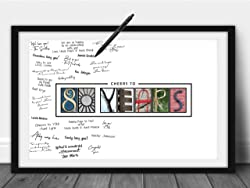 Cheers to 80 Years Birthday Poster with Messages from Family & Friends