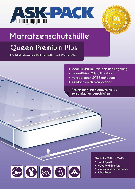 Housse De Protection Matelas Queen Premium pour matelas 160cm de large avec fermeture adh/ésive EXTRA long 260cm ULTRA solide 120/µ