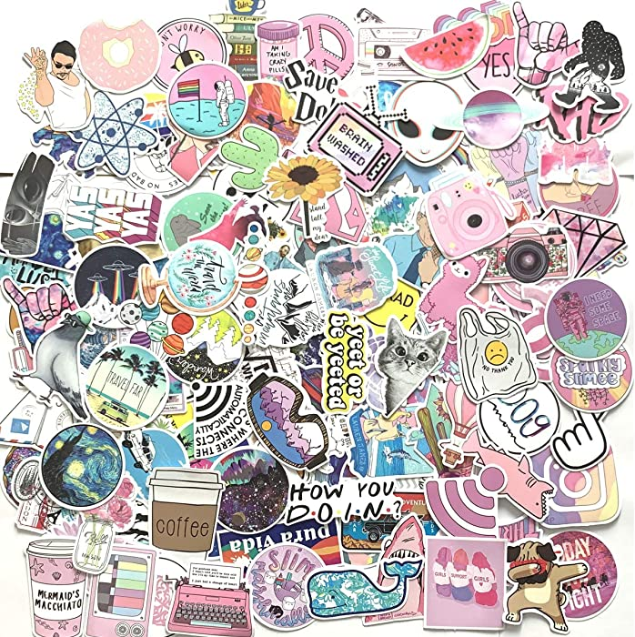 156 Pcs Cute Stickers,Laptop and Water Bottle Decal Sticker Pack for Teens, Girls, Women Vinyl Stickers Waterproof (Pink)