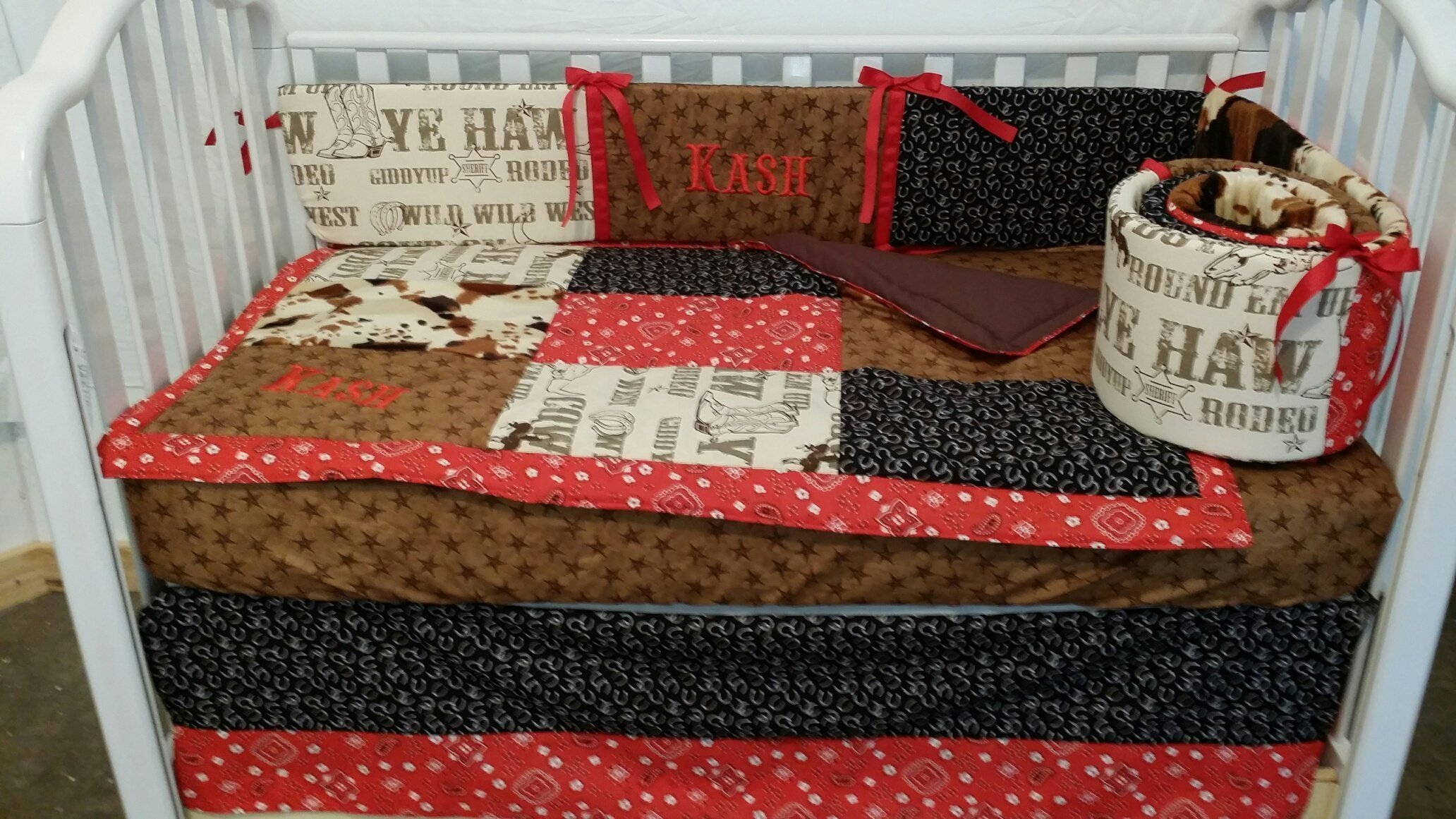 3 piece Rodeo, Western, Cowboy Crib Baby Bedding set, Handmade and custom to order, Embroidered, Monogrammed, Personalized Fitted crib sheet sold separately, Quilt, Bumper, Bed skirt,