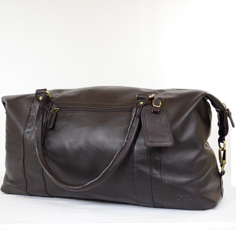 Snugrugs-resväska i mjukt läder av hög kvalitet (svart, brun) BRUN