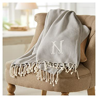 Mud Pie 4264313W Herringbone Initial W Throw Blanket with Fringe