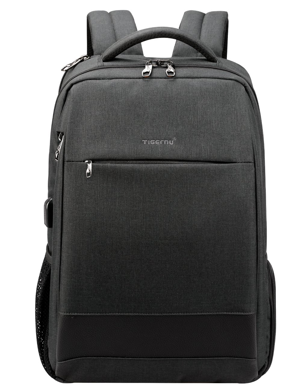 Travel Laptop Backpack, Anti-Theft Business Daypacks with USB Charging Port, Tigernu Water Resistant College School Bookbag for Men/Women, Slim Computer Bag Fits up to 15.6'' Laptops/Notebook, Black