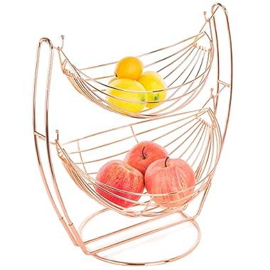 Rose Gold-Tone Metal 2-Tier Hammock-Style Fruits & Produce Basket Rack - MyGift