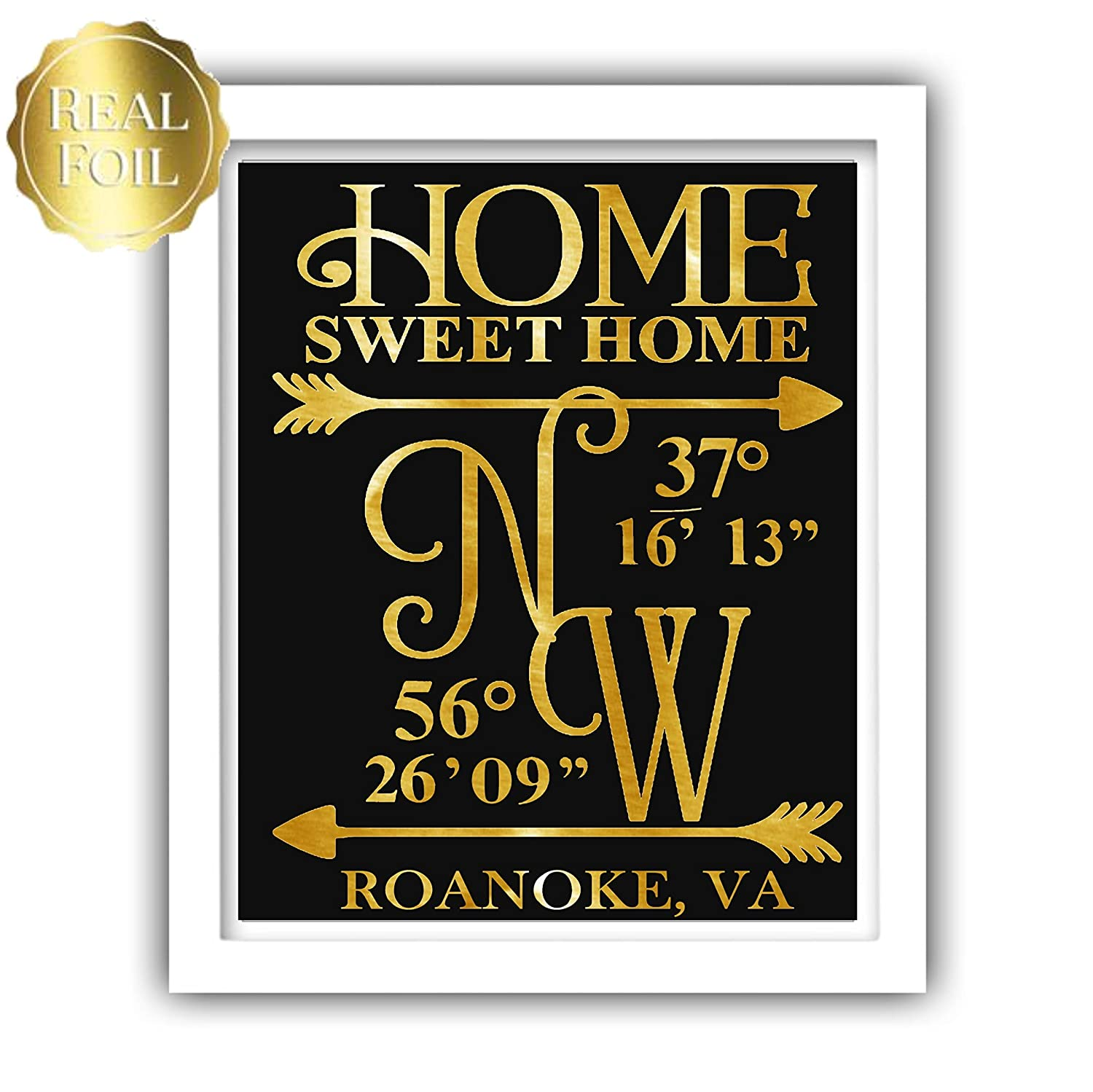 Amazon.com: Personalised Real Foil Any Location Coordinates Home Print,  Foiled Poster: Handmade